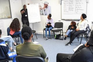 Sheree and Tony delivering a session with young Londoners